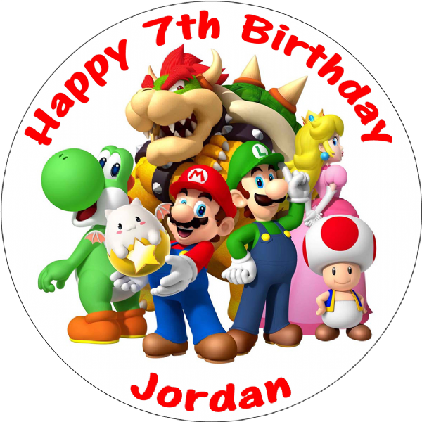 SUPER MARIO BROS PERSONALISED BIRTHDAY CAKE EDIBLE TOPPER